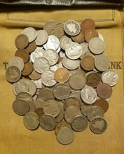 Old US Coin Estate Lot Buffalo Nickel, V Nickel and Indian Cent 3 Antique Coins!