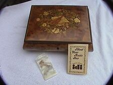 burl wood endless love song italian inlaid Music Box with key great condition