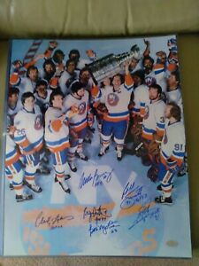 New York Islanders Stanley Cup Team Signed Auto 16x20 Photo