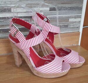 Ladies Jones Bootmaker Red & White Striped Cotton High Heeled Sandals BNWOB