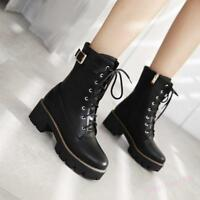 New Womens Gothic Chunky Heels Lace Up Zipper Ankle Boot Y Motorcycle Punk Shoes