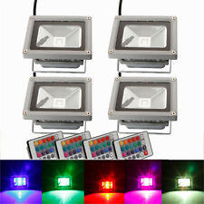 4Pcs 10W Waterproof RGB Memory LED Flood Spot Landscape Light w/ Remote Control
