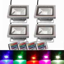 4Pcs 10W Waterproof RGB Memory LED Flood Spot Landscape Light w/ Remote Control