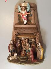 Tegola di terracotta presepe 35x26 cm lavorata e dipinta a mano Beppe BUZZETTA