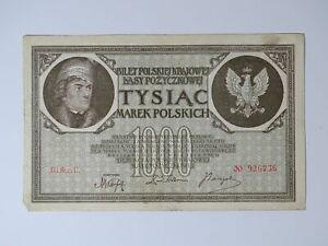 ➤ Banknote 1000 Marek Polskich Mark Tysiac 1919 Poland, III Ser.B. Nr. 926736 ➤