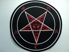 BAPHOMET SATAN  RED AND WHITE  EMBROIDERED BACK PATCH