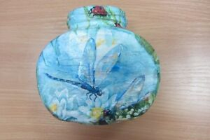 Ukrainian Decoupage Glass Jar with Ladybug, Bird and Dragonfly