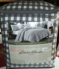 EDDIE BAUER HOME Queen Flannel Comforter Set 3p BUFFALO CHECK CHARCOAL BLACK
