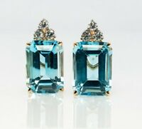 2ct Emerald Blue Aquamarine Elegant Diamond Stud Earrings 14k White Gold Finish