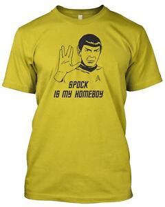 'SPOCK IS MY HOMEBOY' Tshirt Star Trek funny Retro Geek Slogan Gift T.V Movie