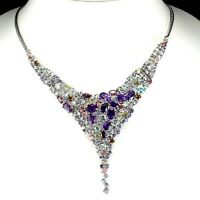 15.72ct Amethyst, Garnet, Tanzanite & Tourmaline Necklace in 925 Sterling Silver