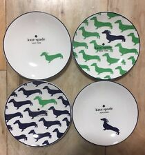 Kate Spade Wickford Dachshund Set 4 Tidbit Plates Lenox China New