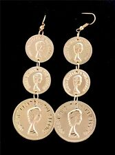 Women Charm Jewelry Gold Tone Coins Layers Dangle Drop Chandelier Stud Earrings
