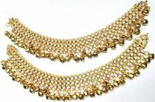 Pearl Cz Anklet Payal Belly Dance Bollywood Indian Bridal Women Gold Tone Kundan