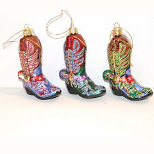 Cowboy Boots Blown Glass Ornaments
