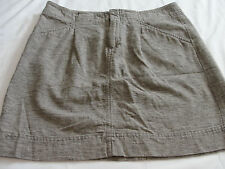 Cute Sz 4 ANN TAYLOR Brown Cotton Linen Above Knee Mini Skirt