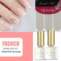 Pink White Nail Gel Polish French Manicure Kit Set with Tip Guides Decorations