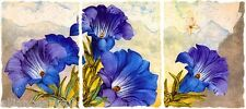 GENTIAN ROYAL Embossed Etching w/Metallic Inlays Triptych By Mikulas Kravjansky