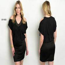 D102 New Womens Size 14/16 Black Short Sleeves Wedding Spring Party Dress Plus