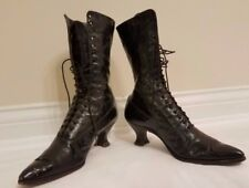 Antique Victorian Women`s Vintage Lace Up Boots Black