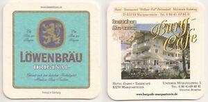 """Löwenbräu, München - Bierdeckel """"Burg-Cafe, Marquartstein"""""""