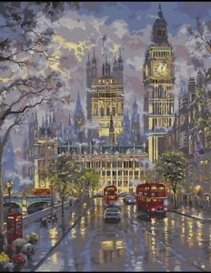 DIY Canvas oil Painting Paint By Numbers London Big ben Kit Include Colours+brus