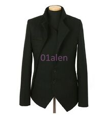 Mens casual Slim Fit Jacket Blazer Coat Wool Blend Two Button Chic Korea Clothes