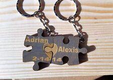 Puzzle Key Chain Pair Couple Fun Split Names Coordinates Wood