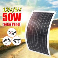 50W Dual 12V/5V Solar Power Panel USB Semi-Flexible Battery Charger For