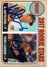 Adam Plutko Perci Garner Cleveland Indians 2017 Topps Heritage Signed Card