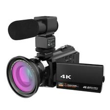 WiFi 4K 16X ZOOM Digital Video Camera Camcorder+Microphone+Wide Angle Lens NIGH
