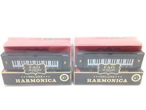 Lot of 2 FAO SCHWARZ Harmonica New Musical Fun Toy W/ Song Sheet & Instructions