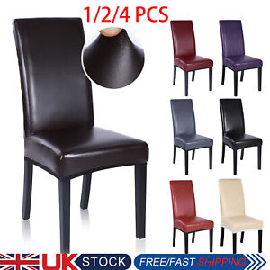 4X Waterproof Leather Chair Cover Stretch Dining Wedding Banquet Slipcover -