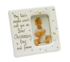 White Christening Photo Frame With Angels Baby Gift FR252