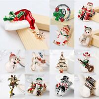 Fashion Christmas Tree Snowman Crystal Brooch Pin Party Costume Xmas Jewelry