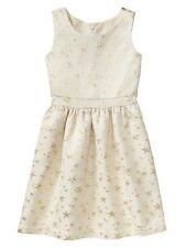 GAP GIRL'S METALLIC STAR DRESS  HOLIDAY NWT SIZE MEDIUM 8-9 / POCKETS