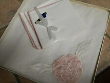 VTG ARBOUR 100& COTTON & PINK PEONY TABLECLOTH & NAPKINS SET, NIB