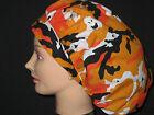Surgical Scrub Hats/Caps Halloween Camouflage Ghosts Orange  Black