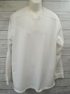 Nike Swoosh Pullover Long Sleeve Crew Neck White T Shirt Sz XL Embroidered Logo