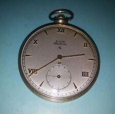 Perfect Elgin De Luxe 10K Gold Filled Pocket Watch c.1950(A2)