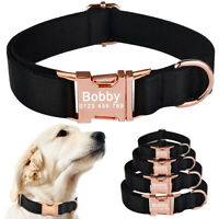 Black Personalized Dog Collar Custom Name ID Tag for Small Medium Large Pet Dogs