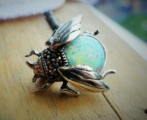 My S Collection 925 Starling Silver, Marcasite & Opalite Bee Brooch / Pin