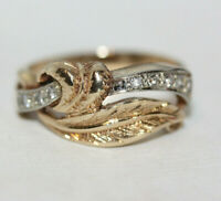 Vintage Statement 14K Gold 0.16 ctw Diamond Anniversary Women's Ladies Ring Sz 9