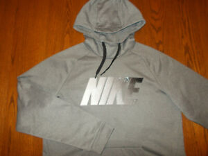 NEW NIKE DRI-FIT HEATHER GRAY HOODED SWEATSHIRT MENS LARGE