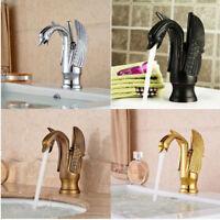 Swan Shape Deck Mounted Bathroom Basin Sink Vessel Faucet Mixer Waterfall Tap