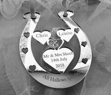 WEDDING GIFT PERSONALISED HORSE SHOE MR & MRS SKEET BRIDE & GROOM KEEPSAKE