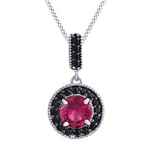 3.2 cttw Pink Ruby & Black Spinel Dangle Pendant Necklace 14K White Gold Over