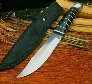 Clip Point Knife Hunting Survival Tactical Combat Chromium Steel Wood Handle Cut