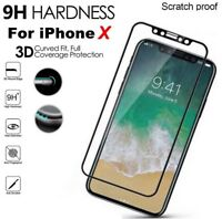 Apple iPhone X (10) 3D CURVED BLACK Full Tempered Glass Screen Edge Protector BK