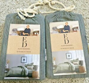 Ellen Degeneres Belmont Cotton Frayed Euro Sham Set of 2 Jade Green NIP